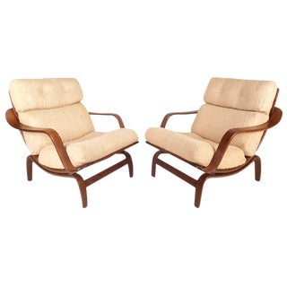 Bruno Mathsson Style Mid-Century Lounge Chairs - a Pair