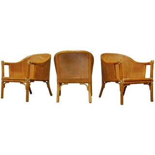 McGuire Cane Back Bamboo Armchairs - Set of 3