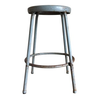 Vintage Industrial Grey Metal Stool