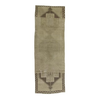 Handknotted Vintage Decorative Washed Out Turkish Runner - 4′2″ × 11′10″