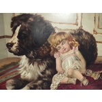Image of Traditional 1900s Oil Painting Dog & Child