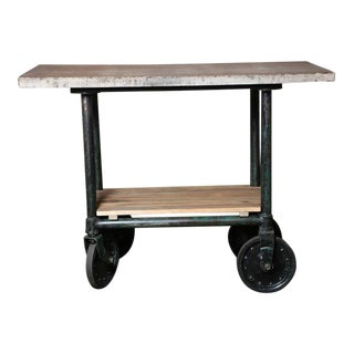 Vintage Industrial Wood Marble Stone Top Island - Rolling Bar Cart - Table
