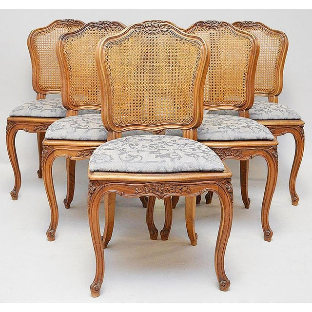 French Country Caned Dining Chairs, Set of 6 - Image 2 of 5