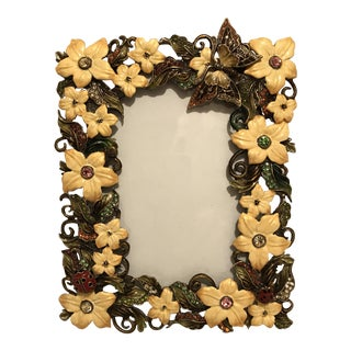 "Enameled & Bejeweled 3"" x 5"" Floral Picture Frame"