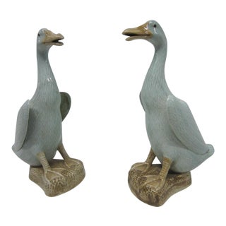 Celadon Duck Figurines - A Pair