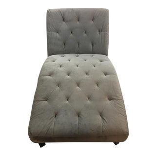 Contemporary Gray Suede Chaise Lounge