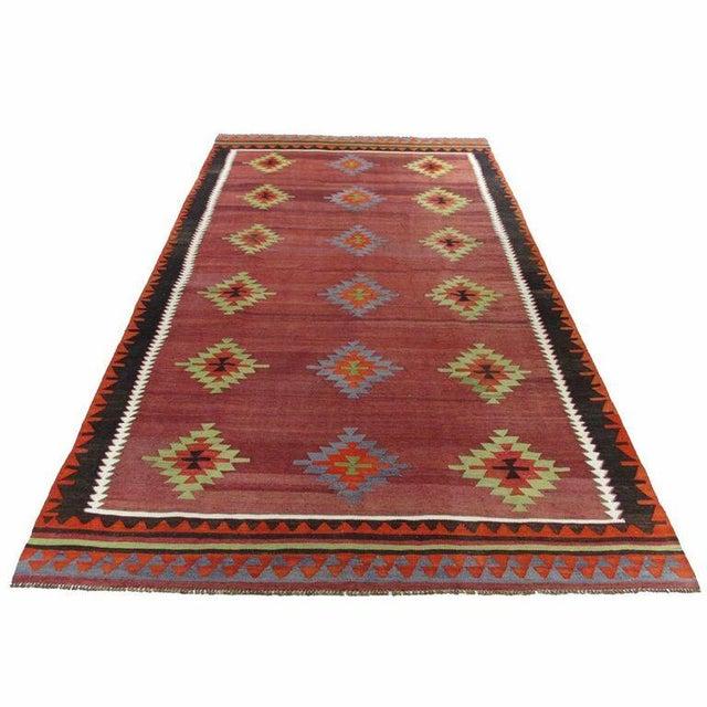 Maroon Vintage Turkish Kilim - 6'' x 10'9'' - Image 2 of 5