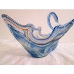 Image of Murano Blue Swirl Glass Swan Bowl
