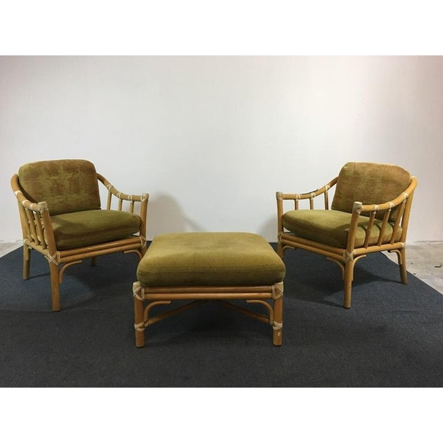 Vintage Bamboo Armchairs & Ottoman - Set of 3 - Image 2 of 9