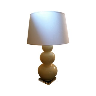 Large Triple-Gourd Yellow Ceramic Table Lamp