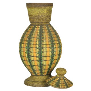 Aldo Londi for Bitossi Geometric Decorated Lidded Ceramic Jar