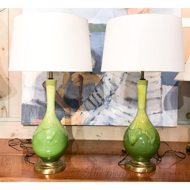 Mid-Century Green Glazed Lamps - A Pair - Image 2 of 10