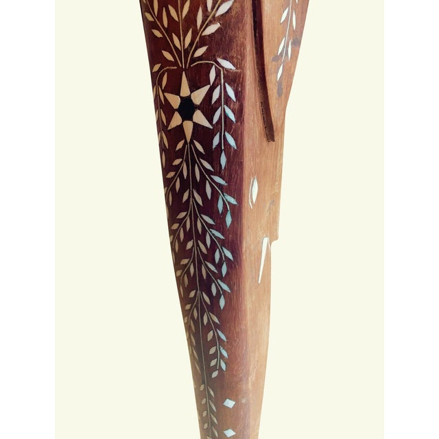 Eclectic Vintage Bone Inlay Elephant Accent Table - Image 3 of 6