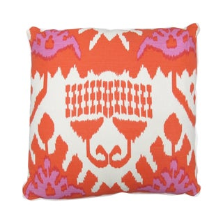 "Oomph Pink and Orange ""Kazak"" Linen 22""x22"" Pillow"