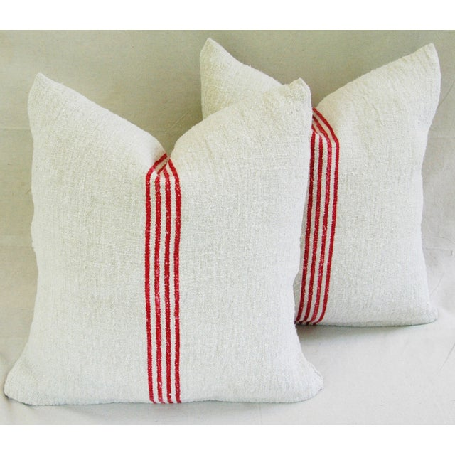French Red Stripe Grain Sack Pillows - Pair - Image 2 of 9