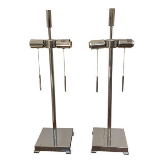 Contemporary Chrome Table Lamps - A Pair