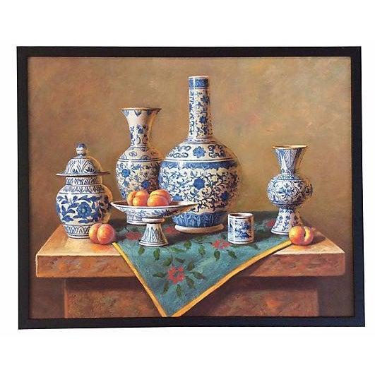 Blue & White Porcelain Still Life Painting - Image 1 of 5