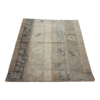 Turkish Vintage Overdyed Patchwork Oushak Rug - 3′9″ × 4′3″