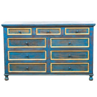 Reclaimed Solid Wood Distressed Blue Chest of Drawers/Dresser