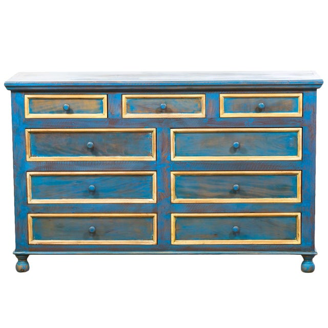 Reclaimed Solid Wood Distressed Blue Chest of Drawers/Dresser - Image 1 of 8