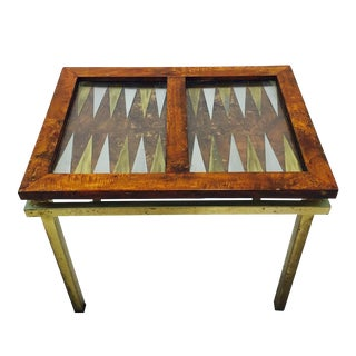 Vintage Burl Wood & Brass Backgammon Game Table