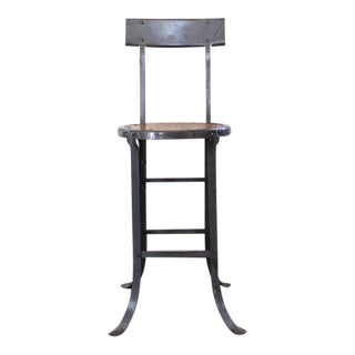 Vintage Industrial Rustic Wood and Metal Bar, Kitchen Island Stool with Back