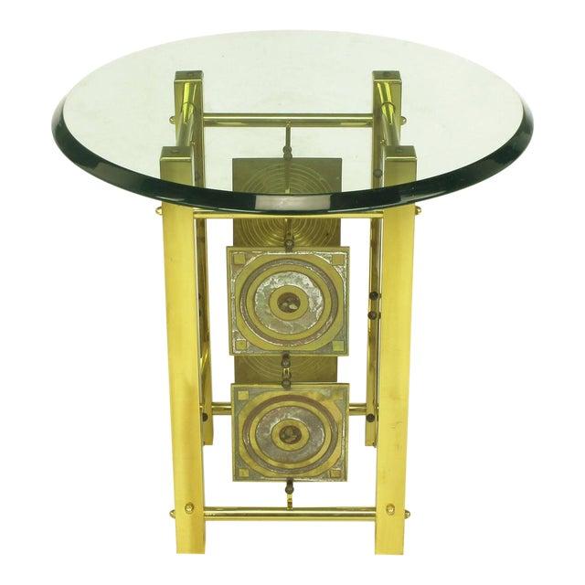 Postmodern Enameled Brass Panel Studio Side Table - Image 1 of 10
