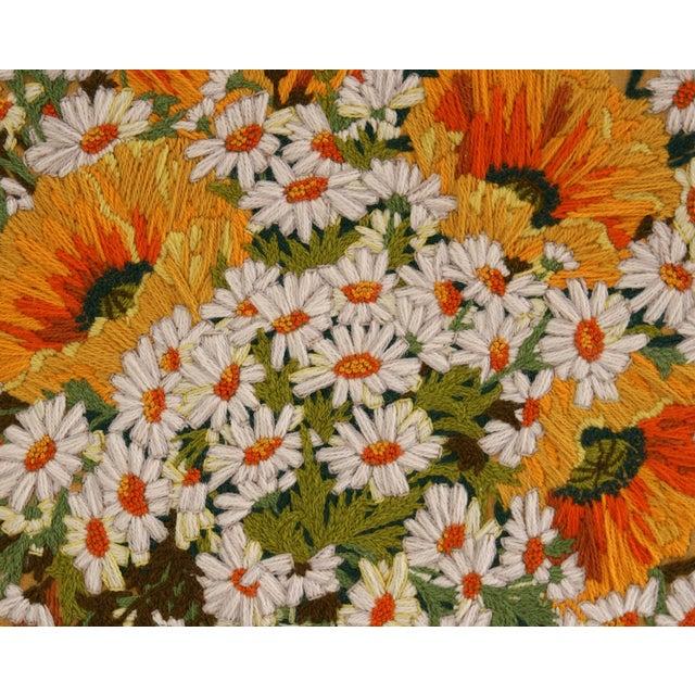 Framed Vintage Flower Needlepoint - Image 3 of 5