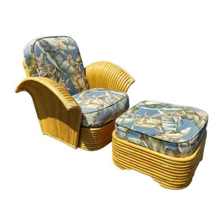 Art Deco Rattan Arm Lounge Chair & Ottoman