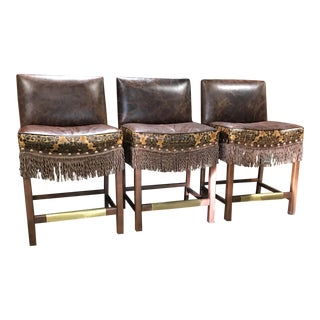 Old Hickory Tannery Leather Bar Stools - Set of 3