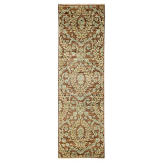 Eclectic, Hand Knotted Brown Wool Runner Rug - 3' X 10'