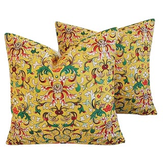 Custom Asian Yellow Floral Linen Feather/Down Pillows - a Pair