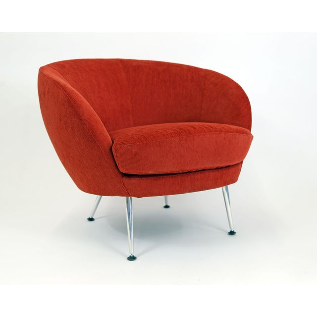 Brazilian Modern Mannes Curved Back Red Club Chair - Image 2 of 11