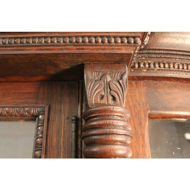 Antique Oak Barley Twist Ball Claw China Cabinet - Image 11 of 11