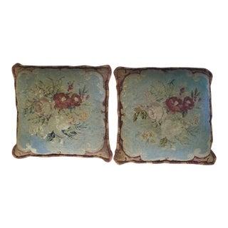 Antique Floral Needlepoint Pillows - A Pair