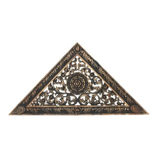 Antique Burn Carved Triangle Panel Small