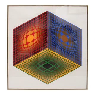 Vasarely Lithograph Pencil Signed 30/250 Op Art