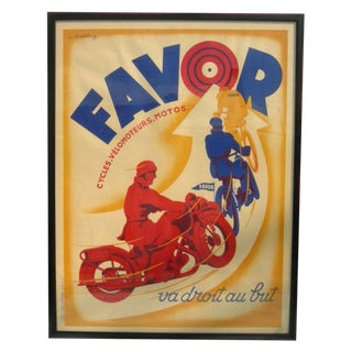 Art Deco Favor Motorcycle Poster by L. Matthey