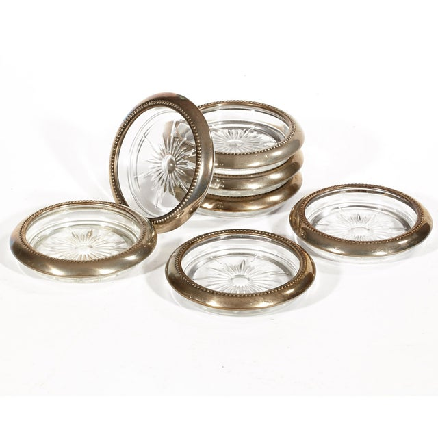 Image of Vintage Silver Plate & Glass Coasters - Set of 7