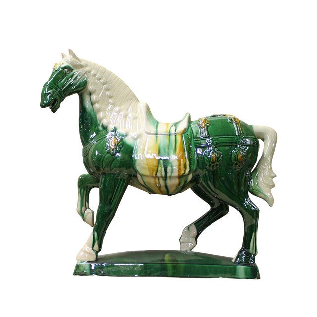 Chinese Green & White Ceramic Marching Horse Figure - Image 1 of 5