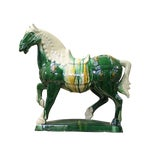 Image of Chinese Green & White Ceramic Marching Horse Figure