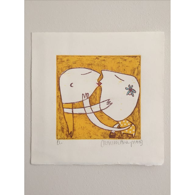 Original Yellow Monoprint by Marina Anaya - Image 10 of 10
