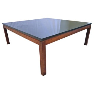 Slate and Teak Danish Modern Coffee Table