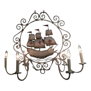 Mid-20th Century French Painted Iron Six-Light Sailboat Chandelier
