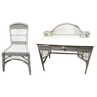 Antique White Wicker Desk & Chair