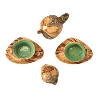 Vintage French Faux Bois Tea Set - Set of 6
