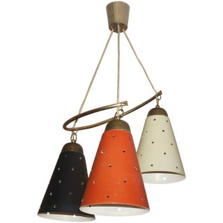 Mid-Century Modern Chandelier Multicolored Enameled Shades and Brass