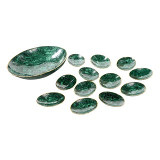 Natural Malachite & Bronze Nut Bowls - Set of 13