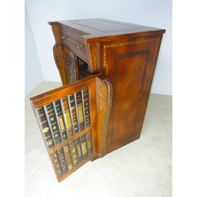Maitland Smith Leather Faux Book Cabinet - Image 5 of 11
