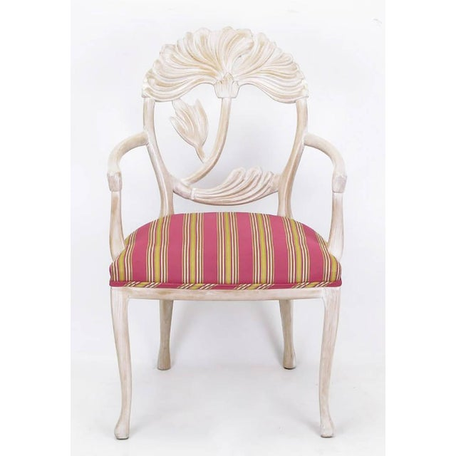 Four Lime Wash Floral Carved Dining Chairs In the Manner Of Phyllis Morris - Image 2 of 9